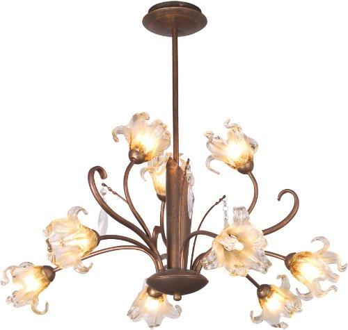 ET2 E22064-26, Bloom, 9 Light Chandelier, Antique Bronze