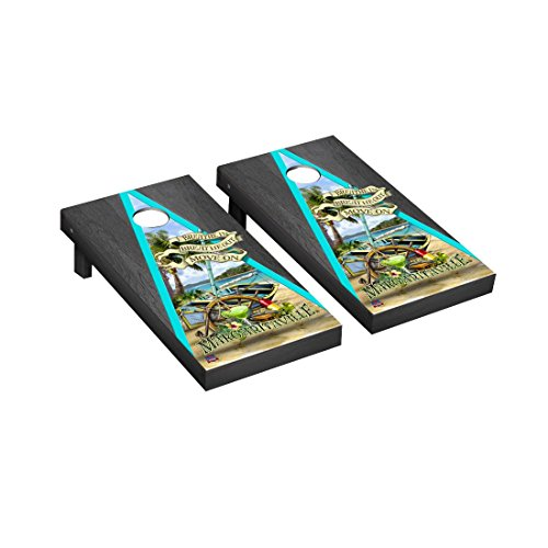 Margaritaville Cornhole Game Set Breathe In, Breathe Out Onyx Stained Triangle Version
