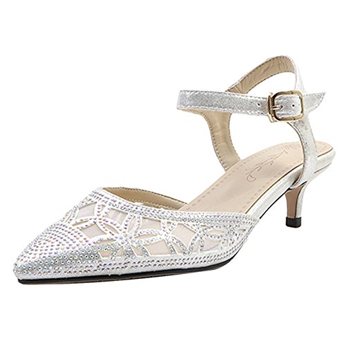 Coolcept Women Sparkly Wedding Shoes Closed Toe Sandals Silver-86