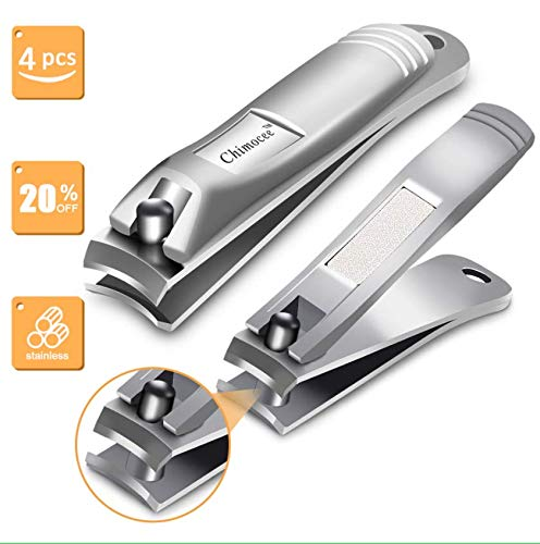 (CHIMOCEE Nail Clipper Set, 2PCS Sharpest Fingernail and Toenail Clippers for Men & Women, Stainless Steel Nail Clippers with Metal Case for Thick Nails)