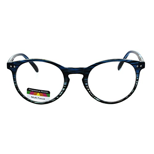 Round Keyhole Thin Plastic Horn Rim Tri-focal Progressive Reader Eyeglasses Blue Teal Stripe 1.75