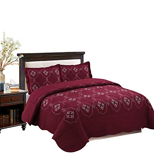 California King Chenille Comforter - MarCielo 3-Piece Fully Quilted Embroidery Quilts Bedspreads Bed Coverlets Cover Set, Cal King Size, White, Black, Emma(Oversize, Burgundy)