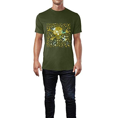 SINUS ART® Handgemalter Mexikanischer Totenkopf Herren T-Shirts in Armee Grün Fun Shirt mit tollen Aufdruck