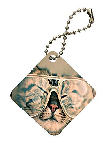 Cat Lover Kitten Kitty Whiskers Glasses Cute Face Diamond Keychain by Moonlight - Diamond Face Glasses For