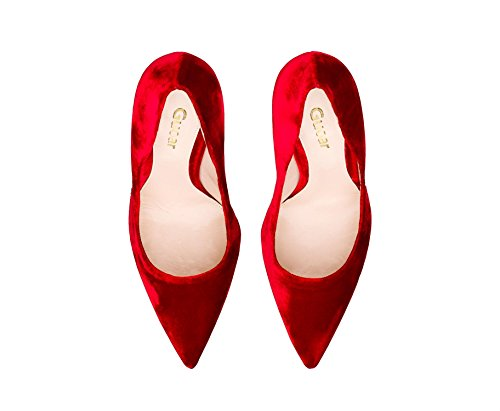 Guoar Dames Stiletto Big Size Schoenen Puntige Teen Dames Stevige Pumps Voor Werk Prom Dress Party C-rood Fluweel
