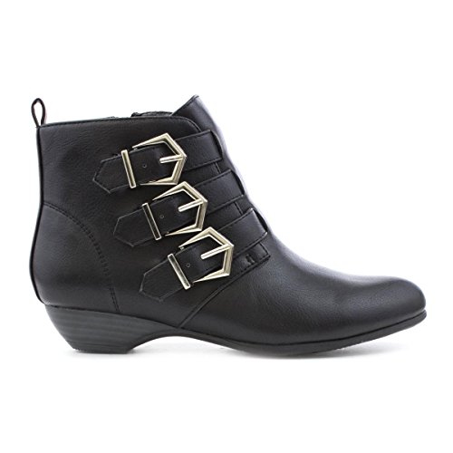 Lilley Womens Black Buckle Detail Ankle Boot Black Hifyvrz