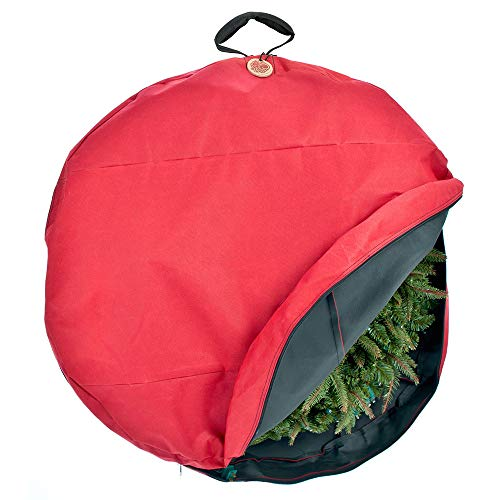 TreeKeeper Santa's Bags Premium Christmas Wreath Storage Bag with Direct-Suspend Handle, 36 Inches