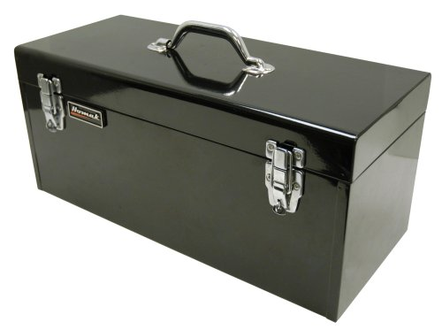 Homak 20-Inch Steel Flat-Top Toolbox with Removable Tray, Black, BK00120920