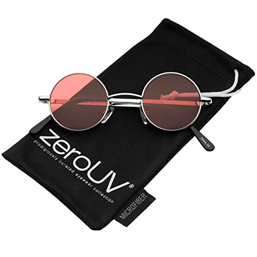 Small Retro Lennon Inspired Style Colored Lens Round Metal Sunglasses 41mm