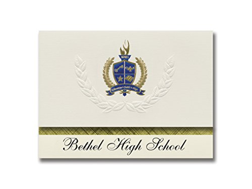 Signature Announcements Bethel High School (Tipp City, OH) Graduation Announcements, Presidential style, Basic package of 25 with Gold & Blue Metallic Foil seal]()