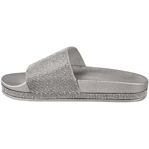 Flats Sliders Slip Sparkly Diamante Sandals Fashion Womens Size Silver Metallic Summer Shoes Diamante Thirsty On wYtqtER