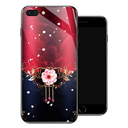 iPhone 8 Plus Case,Red Rose Pink Cherry Blossom iPhone 7 Plus Cases for Girls,Tempered Glass Pattern Design Back Cover [Shock Absorption] Soft TPU Bumper Frame Support Case for iPhone 7/8 Plus Sakura