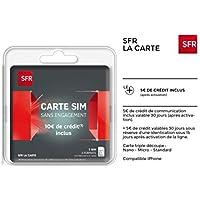 CARTE SIM SFR SANS ENGAGEMENT AVEC 10€ DE CREDIT INCLUS