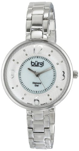 Burgi Women's BUR103SS Silver Swiss Quartz Watch with White Mother of Pearl and Silver Dial and Silver Bracelet