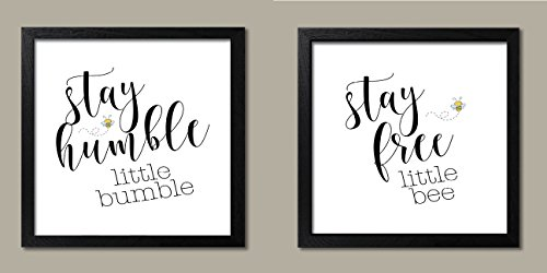 Popular Adorable Stay Humble Little Bumble and Stay Free Little Bee Set; Kids Room and Nursery Decor; Two 12x12in Black Framed Prints