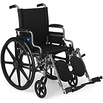 """Medline Lightweight and User-Friendly Wheelchair with Flip-Back, Desk-Length Arms and Elevating Leg Rests for Extra Comfort, Gray, 18"""" Seat, Black"""