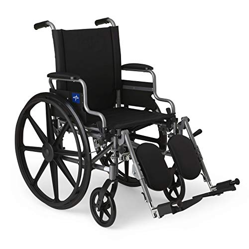 Medline Lightweight and User-Friendly Wheelchair with Flip-Back, Desk-Length Arms and Elevating Leg Rests for Extra Comfort, Gray, 18 inch Seat ()