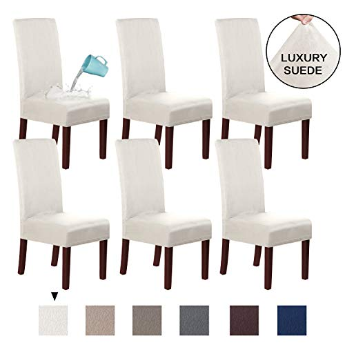 H.VERSAILTEX Soft Spandex Real Suede Velvet Plush Dining Chair Cover Furniture Protector Water Repellent Removable High Back Chair Protector, Skid Resistance & Machine Washable (6 Pack, Ivory)