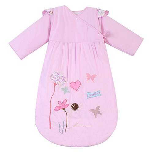 HAPPY CHERRY Winter Baby Sleeping Bag Long Sleeves SleepSack Wearable Blanket - Lotus Flower - Pink - Thick Cotton - Suitable Height(29.52-41.33inch) - 1-5 Years