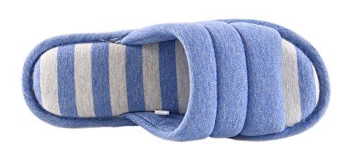 Aisun Unisex Stripes Antislip Open Teen Indoor Slippers Lichtblauw