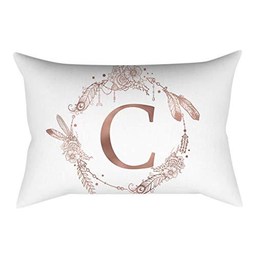 Iuhan  Kids Room Throw Pillow Case Cushion Cover, Pillow Cover Rose Gold Alphabet Letter Pillowcase Sofa Cushion Cover Home Decor (C) ()