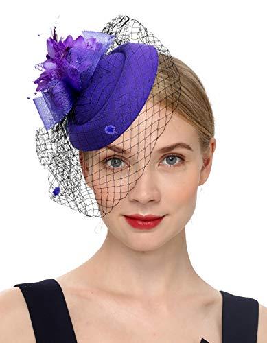 Cizoe Fascinator Hair Clip Pillbox Hat Bowler Feather Flower Veil Wedding Party Hat Tea Hat(1-Purple)