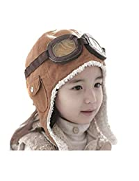Genius_Baby Lovely Cute Fashion Warm Baby Kid Toddler Infant Child Children Boy Girl Winter Earflap Pilot Cap Aviator Hat Beanie Flight Helmet (Coffee)