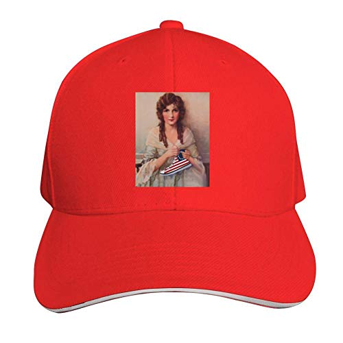 Betsy Ross with Sneaker Adjustable Baseball Cap, Old Sandwich Cap, Pointed Dad Cap Red
