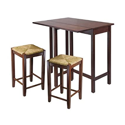 Winsome Lynwood 3 Piece Drop Leaf Pub Set with Rush Seat Stools  sc 1 st  Amazon.com & Amazon.com - Winsome Lynwood 3 Piece Drop Leaf Pub Set with Rush ...
