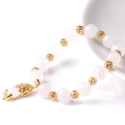 (WENZHEN Natural Hetian Jade Green Jade Bracelet, 24K Yellow Gold White Jade Pendant Jewelry@Hetian Baiyu)