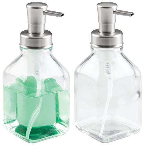 mDesign Modern Square Glass Refillable Foaming Soap Dispenser Pump Bottle for Bathroom Vanity Countertop, Kitchen Sink - Save on Soap - Vintage-Inspired, Compact Design - 2 Pack - Clear/Brushed