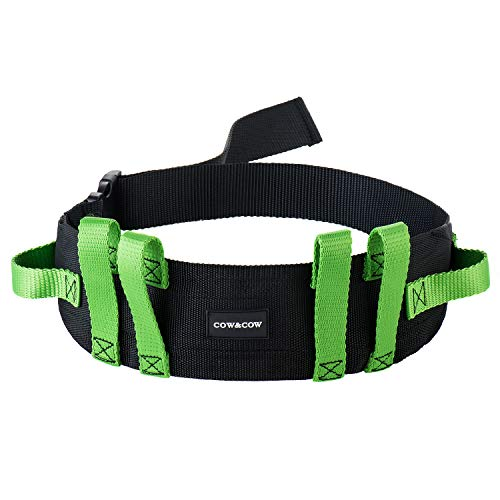 COW&COW 6 Caregiver Handles Grips Transfer and Walking Gait Belt with Quick Release Buckle (Green, 52inches)