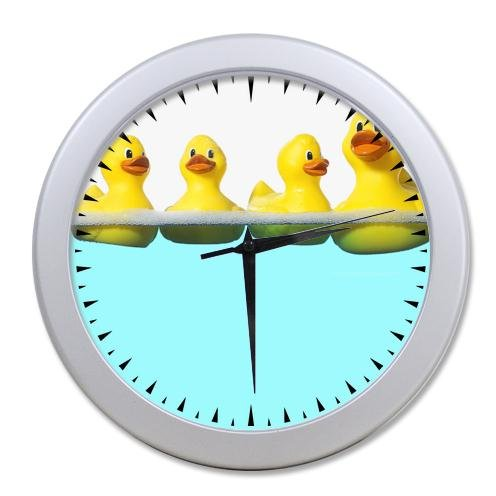 Special Design Yellow Rubber Ducks On The Water Round Elegant Gainsboro Wall Clock 100% Quartz