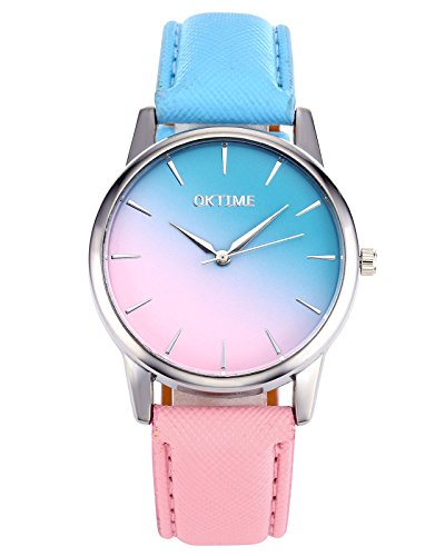 Top Plaza Fashion Women Gilrs Candy Color Pink & Blue Watch Silver Case PU Leather Strap(Style - Plaza Stores On The