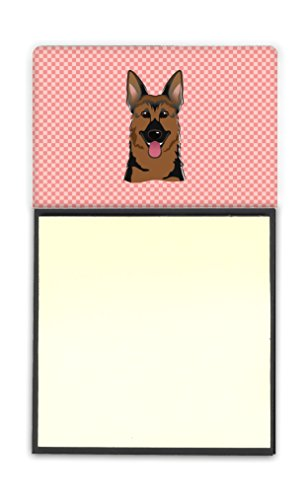 Caroline's Treasures Checkerboard Pink German Shepherd Refillable Sticky Note Holder or Postit Note Dispenser, 3.25 by 5.5
