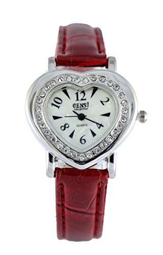 Censi Women's Sliver Plated Diamante Bezel Heart Shaped PU Leather Strap Watch (Red) (Heart Ladies Watch Shaped)