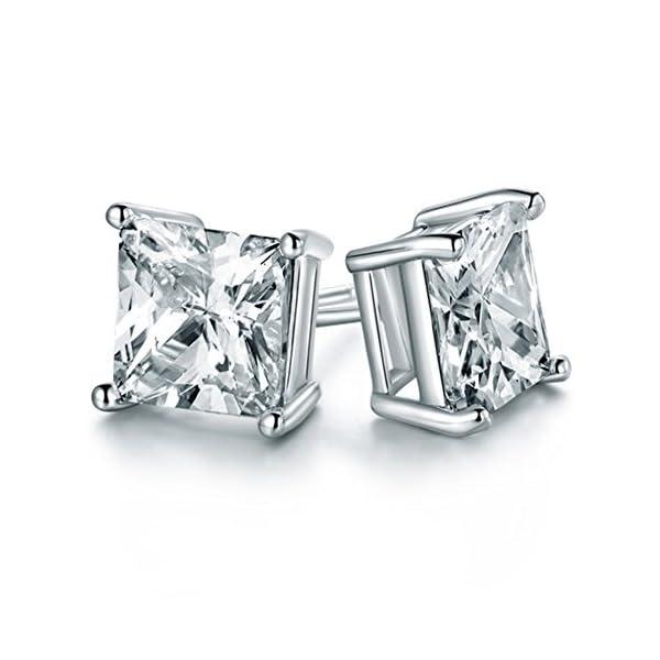 Chryssa Youree 925 Silver CZ Cubic Zirconia Square Princess Cut 8mm Studs Earrings Mens Womens Children Jewelry Bridesmaid Groomsmen Gifts (ED-68)