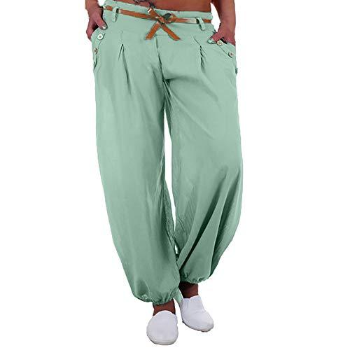 JOFOW Womens Harem Pants Plus Size Solid Cotton Linen Loose Trousers Low Waist Straight Leg Comfy Yoga Long Ankle Bloomers (4XL,Light ()
