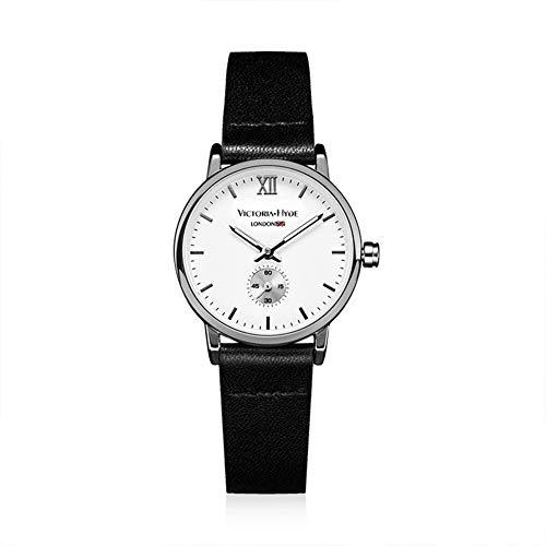 VICTORIA HYDE Small Lady Quartz Watches Classic Women Wrist Watch Round Leather Strap Black Waterproof