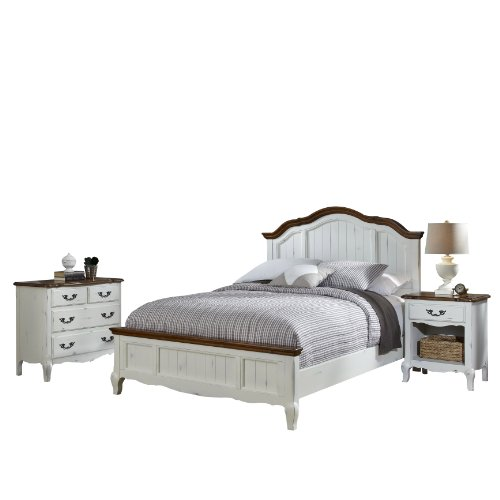 Home Styles 5518-5019 The French Countryside Queen Bed, Night Stand and Chest (French Country Set Bed)