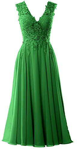 MACloth Gorgeous Tea Length Prom Homecoming Dress V Neck Formal Evening Gown Verde