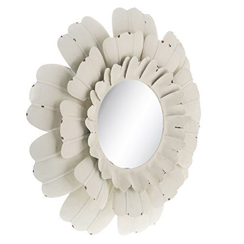 White Flower Metal Wall Mirror Hallway Bathroom Bedroom Rustic Country Decor