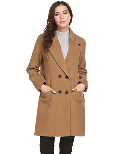 HOTOUCH Women Double Breasted Long Coat Wool Blended Winter Overcoat Jacket Khaki L