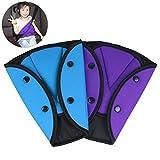 AK KYC 2 Pack Car Safety Kids Seatbelt Adjuster Cover Strap Mash Shoulder Pad Children Seat Belt Clips Purple + Blue