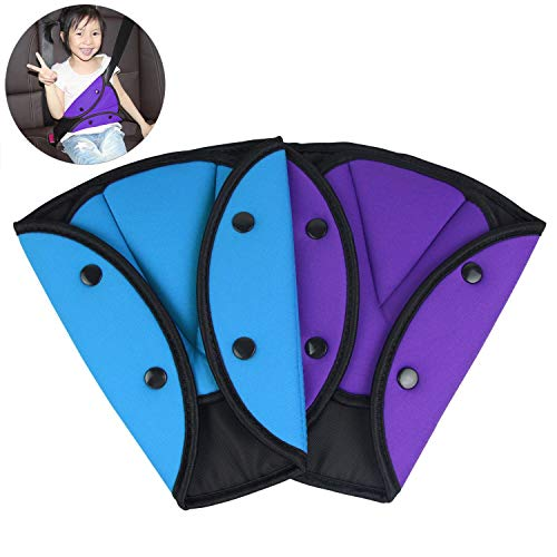 AK KYC 2 Pack Seat Belt Cover Car Seatbelt Adjuster for Kids Belt Strap Protector Pad for Children Baby Adult Shoulder Neck Safety Triangle Positioner Purple + Blue