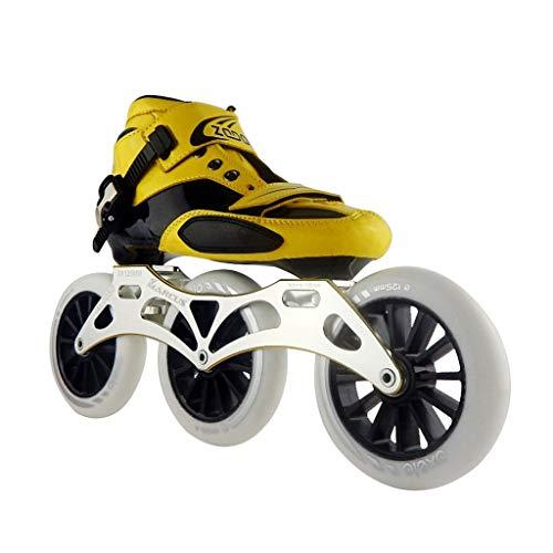 複製する批判的海ailj スピードスケートシューズ3 * 125MM調整可能なインラインスケート、ストレートスケートシューズ(5色) (色 : 黒, サイズ さいず : EU 42/US 9/UK 8/JP 26cm)