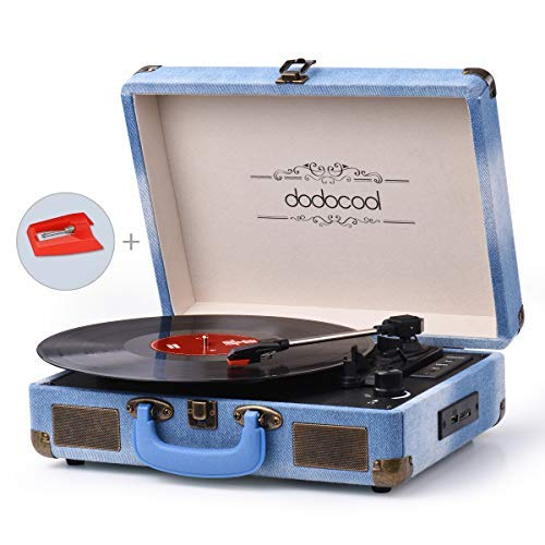- Vinyl Record Player, dodocool Turntable, Vintage Jean Style Belt-Drive 3-Speed Bluetooth Suitcase Turntable with Built in 2 Stereo Speakers, RCA Audio Output, AUX/USB/SD Input, Cobalt Blue