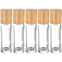 5 Pack 10ml Bamboo Roller Bottle for Essential Oils,Empty Clear Glass Roll On Bottle With Stainless Steel Roller Balls…