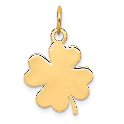 14k Yellow Gold .018 Gauge Engravable Clover Disc Pendant Charm Necklace Shaped Fine Jewelry Gifts For Women For Her