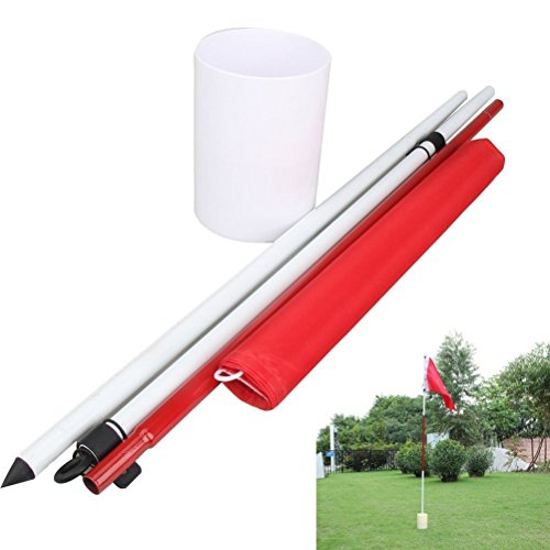 77tech Backyard Practice Golf Hole Pole Cup Flag Stick, 3 Section,golf Putting Green Flagstick - Practice Stick Golf